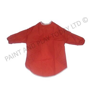 Pack of 10 Childrens Kids Play Aprons Painting Art Craft - Red - Age 8-10 Years