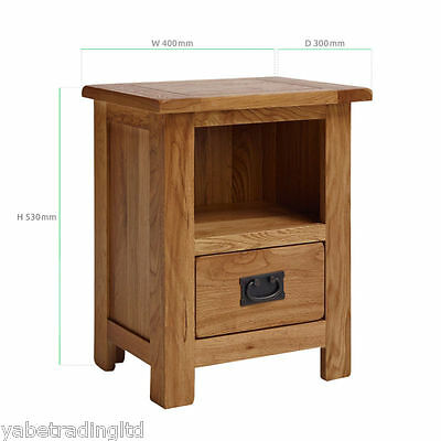 New 1 Drawer Rustic Stratford Solid Oak Lamp Table Bedside Side End Table New