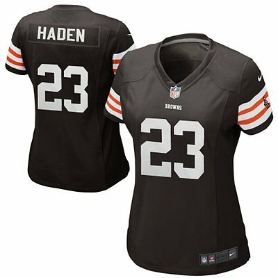 NEW NIKE Women`s Cleveland Browns Joe Haden #23 home jersey on field USA