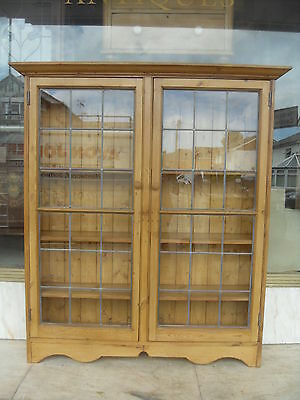 Edwardian / Victorian Antique Pine Glazed Bookcase / Antique Pine Display Cabine