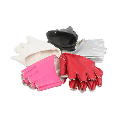1 Pair Half Finger PU Leather Gloves Womens Fingerless Show Pole Dance 5 color