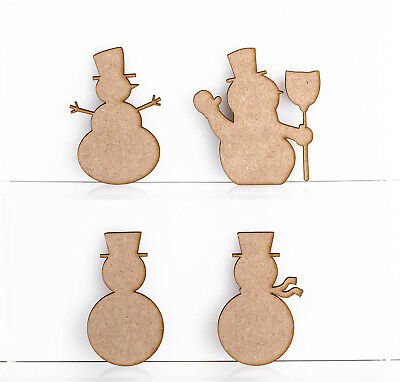 Snowmen Craft Shapes 3mm MDF Wood Christmas Embellishments Blank Plaques