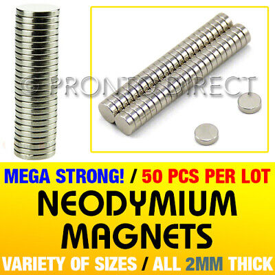 VARIETY of Neodymium Magnets 2mm Thick - Small & Large Round Disc - ULTRA STRONG