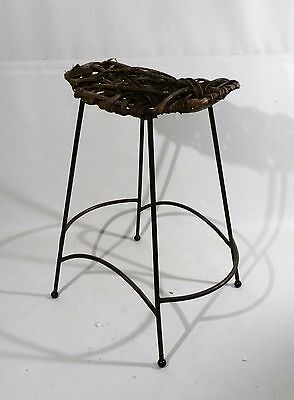 Rustic Brutalist Top Arthur Umanoff Steel Based Stool One of a Kind Mid Century