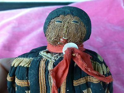 Very Rare & Early Seminole Indian Doll With Palmetto Leaf Face Colorful Dress