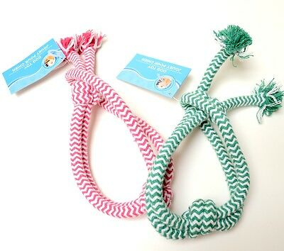 "Knot Dog Rope Toy 18"" Long Pink Or Green Chevron Pattern Tug Or Fetch Toy"