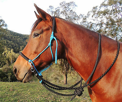 Bitless bridle/riding halter with plaited reins and leadrope set,trail/endurance