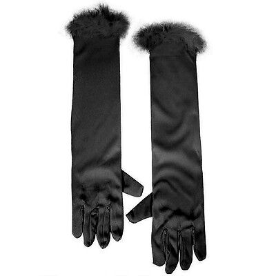 Long Black Child Gloves With Fuzzy Trim