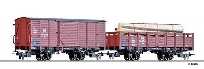 TILLIg 05972 H0e Narrow gauge Freight wagon the DR, Epoch III (with Wood load)