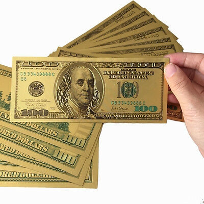 Lot 10 Pcs $100 US dollar Double-sided Color Golden Paper Money Banknotes Crafts