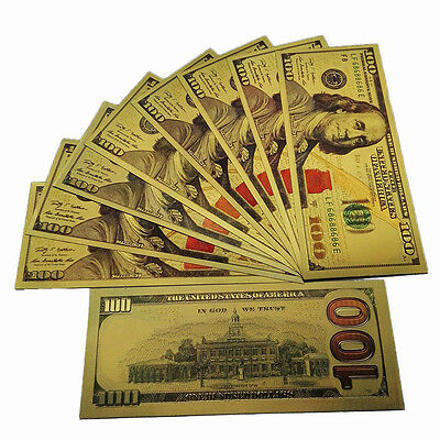 10pc 1:1 New Style $100 24K Gold Foil Double-sided Color Shining Money Banknotes