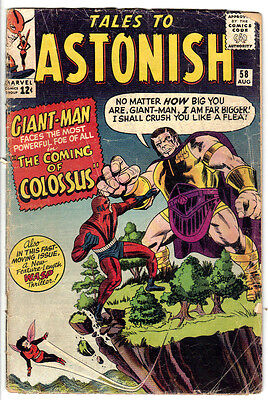 TALES TO ASTONISH #58 (GD-) WASP! GIANT-MAN! 1st Appearance of COLOSSUS! (VEGAN)