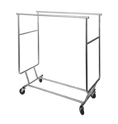 AF-RSWF-DBL Collapsible Double Round Tubing Garment Salesman Rolling Rack