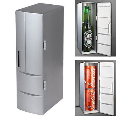 UK Mini Cooler Warmer USB Fridge Desktop Cooling Refrigerator Soda Can Plug&Play