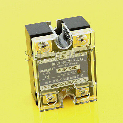 High Quality DC-AC 20A 3-32VDC to 24-480V AC Solid State Relay SSR + Clear Cover