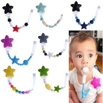 Teething Pacifier Clip With Food Grade Silicone Baby Chew Soother Nipple Strap