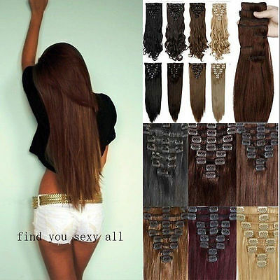 UK Full Head 8pcs 18clips Clip in on Hair Extensions Real thick as human hair