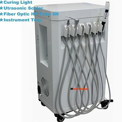 Portable Dental Unit Cart All-in-one+Air Compressor+Fiber HP 6H+Instrument Tray