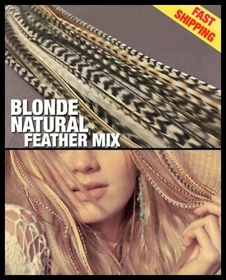 Natural Feather Hair Extensions Grizzly Blonde Mix 14Pk 2Free Tool Bead CraftKit