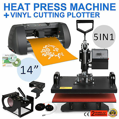 5In1 Heat Press Transfer Vinyl Cutting Plotter T-Shirt Machine Cutter Printer