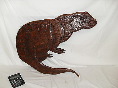 Large Unusual Carved Wood Otter . BELIEVE IN GOD - strange folk art !!