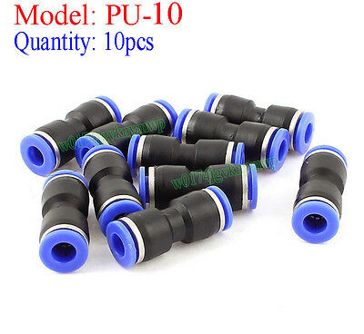 10pcs 2 Way Straight Push In Pneumatic Union Quick Release 10mm Tube Fittings