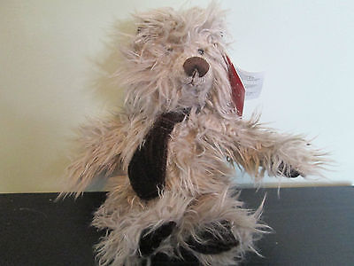 'retired' Russ Berrie 'eldridge' Long Hair Grey Bear With Necktie. Bnwt,last One