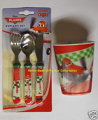Kids Disney Planes Stainless Steel 3pcs Cutlery Set And 3D Lenticular Tumbler
