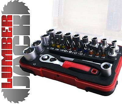 "Lumberjack RS 25 Pc 1/4"" Hex 6pt Sockets SL25 1/4"" Ratchet Driver Bit Set Bahco"