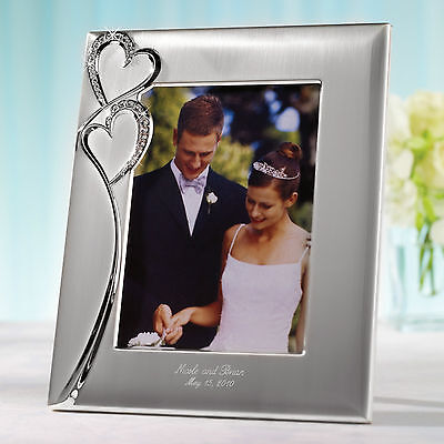 Sparkling Love Double Heart Wedding Photo Frame + Option to Personalize