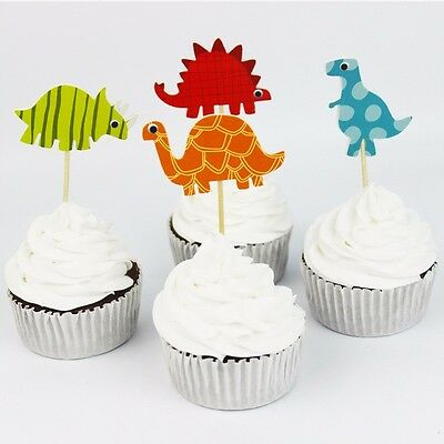 24 Pcs Dinosaur Cupcake Toppers  / Party Supplies/ Birthday Kids