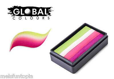 Global Colours 30g Bali Fun Stroke Rainbow Cake, Professional Face Paint, Party