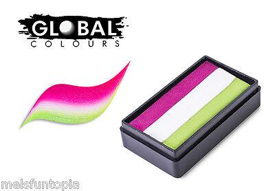 Global Colours 30g Milan Fun Stroke Rainbow Cake, Professional Face Paint Party