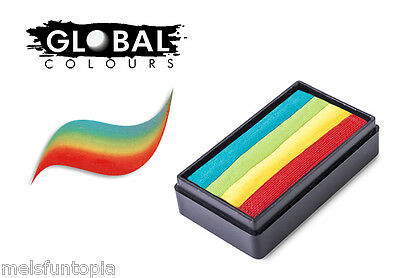 Global Colours 30g Zanzibar Fun Stroke Rainbow Cake, Professional Face Paint