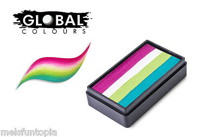 Global Colours 30g Cuba Fun Stroke Rainbow Cake, Professional Face Paint, Party