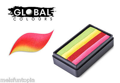 Global Colours 30g Tobago Fun Stroke Rainbow Cake, Professional Face Paint Party