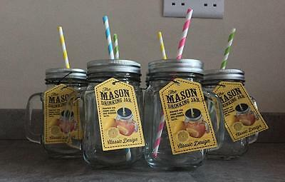 Set Of Six Mason Jars Drinking Cups Cocktail Glasses With Lids And Straws