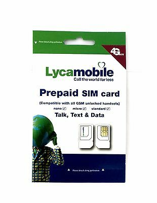 Lycamobile SIM Card Unlimited Nationwide Talk,Text&Data 3in1 Standard/Micro/Nano