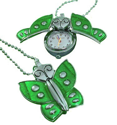 Custom engraved green butterfly pendant watch with gift pouch and box - K2-grn