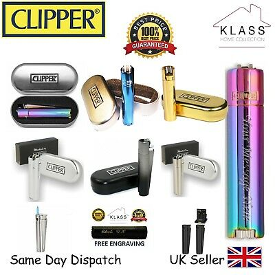 New Personalised Genuine Clipper Metal Lighter With Free Engraving & Gift Box