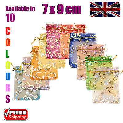 7 x 9 cm Heart Organza Gift Wedding Favour Bags Jewellery Pouch in 10 Colours