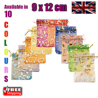 9 x 12 cm Heart Organza Gift Wedding Favour Bags Jewellery Pouch in 10 Colours