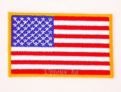 """1x Gold National USA American Flag Embroidered Sew Iron on Applique Patch 2""""x3"""""""