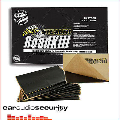 "Stinger Stealth Roadkill Bulk Kit 9Pcs 18"" x 32"" 36SQFT Sound Proofing Deadening"