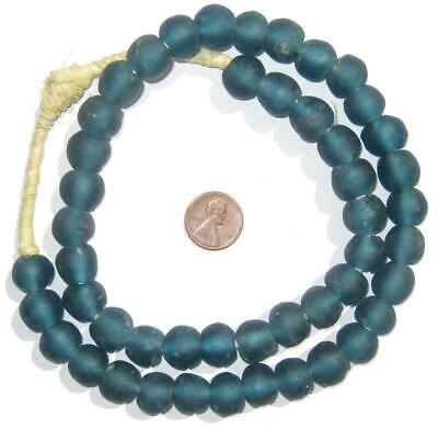 African Teal Recycled Glass Beads (14mm)  Ghana