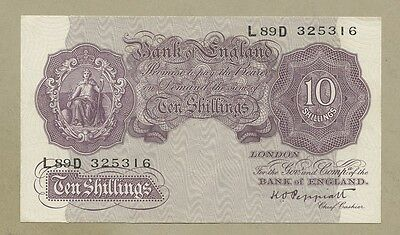 BANK OF ENGLAND - Peppiatt  WWII (Mauve)  10s/-  About EF  ( English Banknotes )