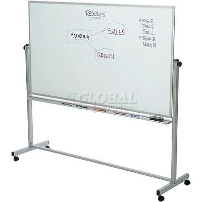 """Luxor 72""""W X 40""""H Mobile Reversible Magnetic Whiteboard"""