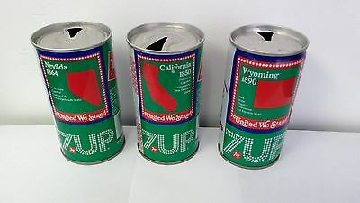 Vintage 7 Up Flat Top Steel Soda Cans California, Nevada, Wyoming.
