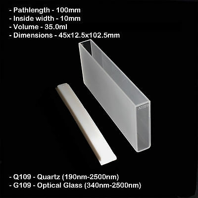 Azzota 100mm Pathlength Quartz Cuvettes - 35ml