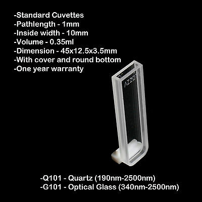 Azzota 1mm Pathlength Quartz Cuvettes - 0.35ml Quartz
